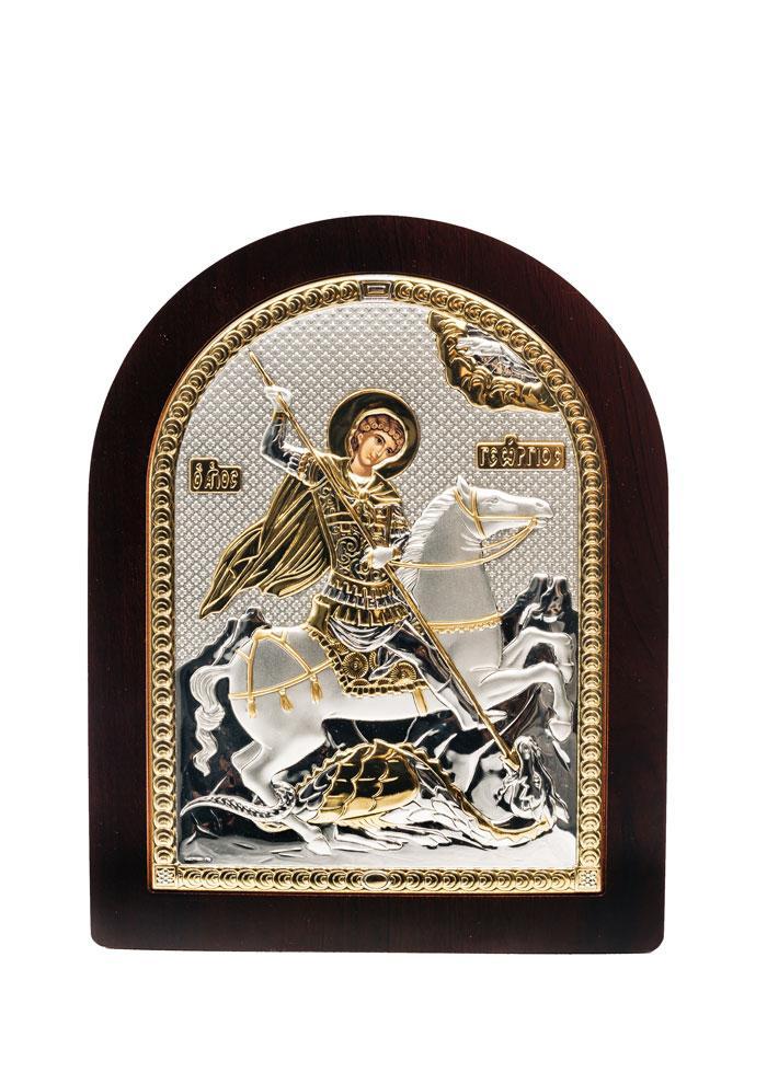 Георгий Победоносец Икона Серебряная с позолотой AGIO SILVER (Греция)  175 х 225 мм