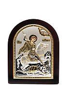 Георгий Победоносец Икона Серебряная с позолотой AGIO SILVER (Греция)  175 х 225 мм, фото 1