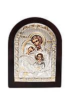 Икона Святое Семейство Серебряная с позолотой AGIO SILVER (Греция)  57 х 75 мм