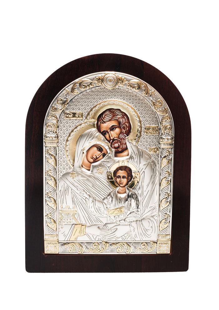 Святое Семейство Икона Серебряная с позолотой AGIO SILVER (Греция)  75 х 103 мм