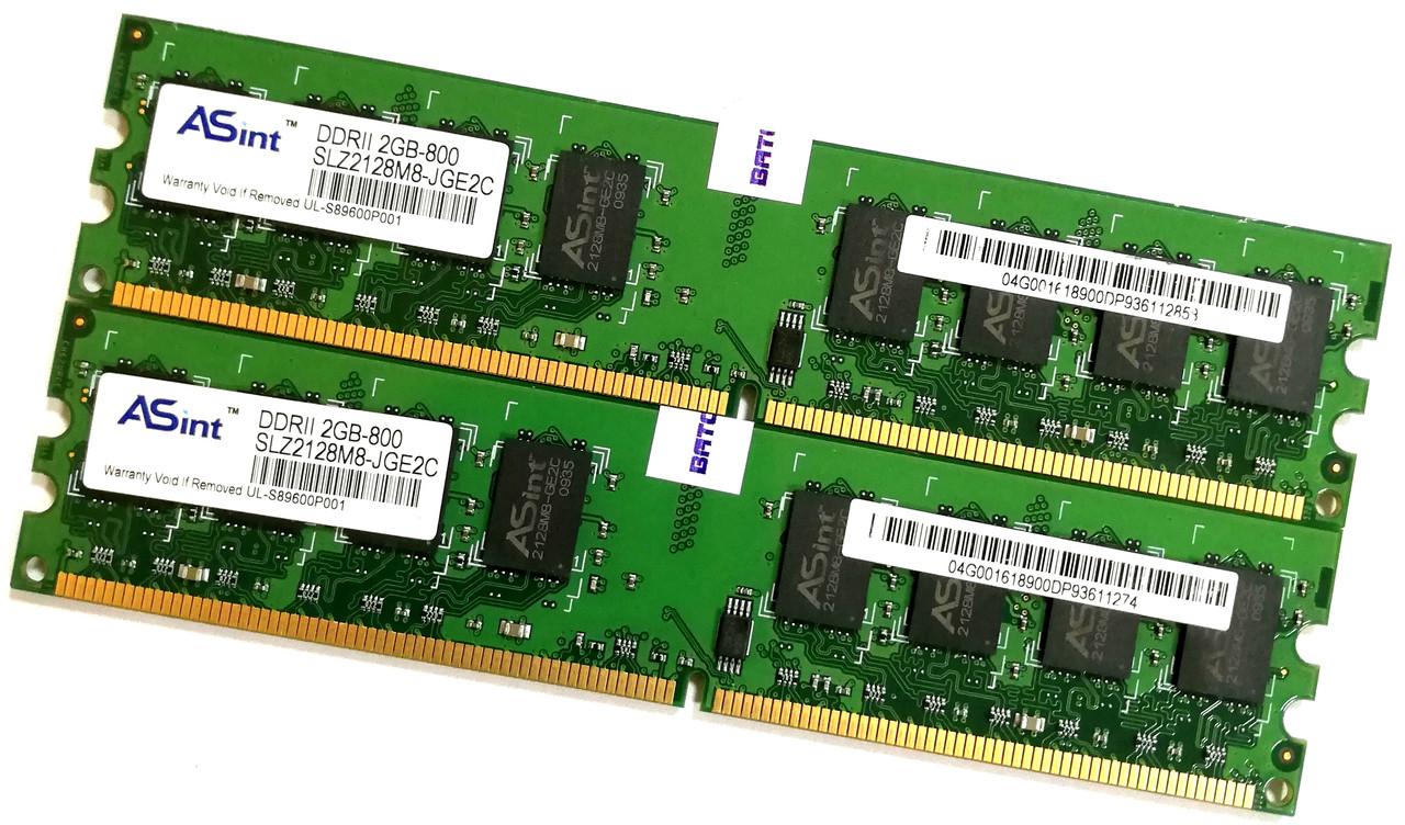 Пара оперативной памяти Asint DDR2 4Gb (2Gb+2Gb) 800MHz PC2  6400U 2R8 CL6 (SLZ2128M8-JGE2C) Б/У