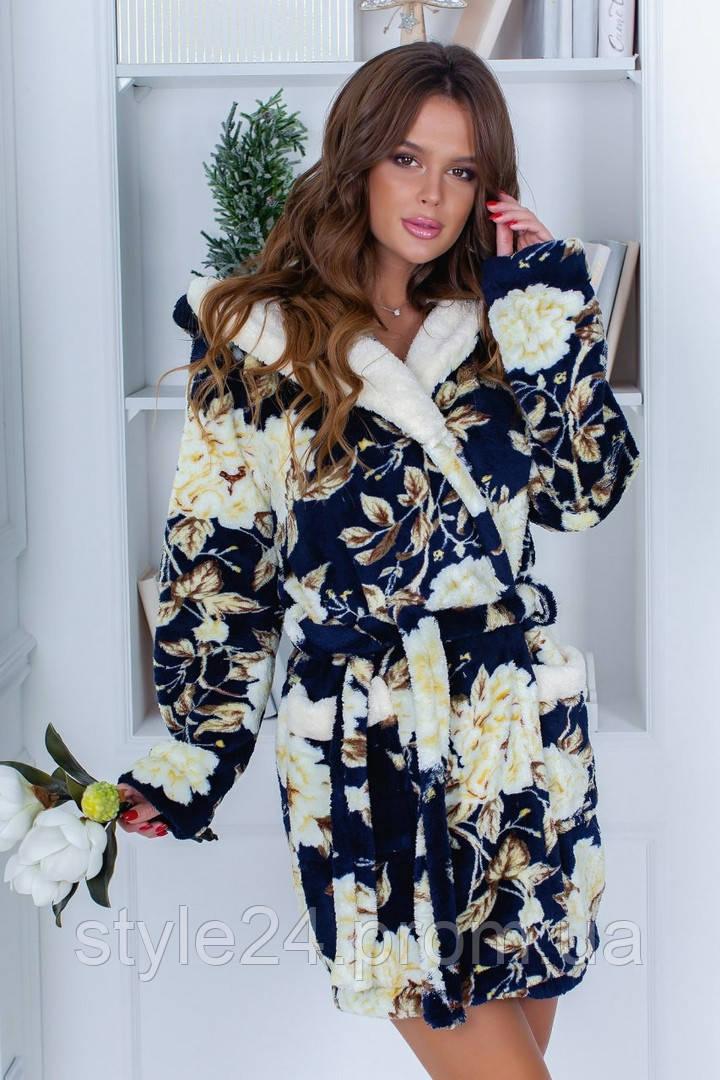 Супер шикарний махровий жіночий халат х квітами  .Р-ри 42-48
