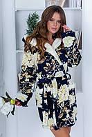 Супер шикарний махровий жіночий халат х квітами  .Р-ри 42-48, фото 1