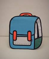 Школьный детский рюкзак дитячий шкільний 2D для школи мужской женский большой портфель Синий