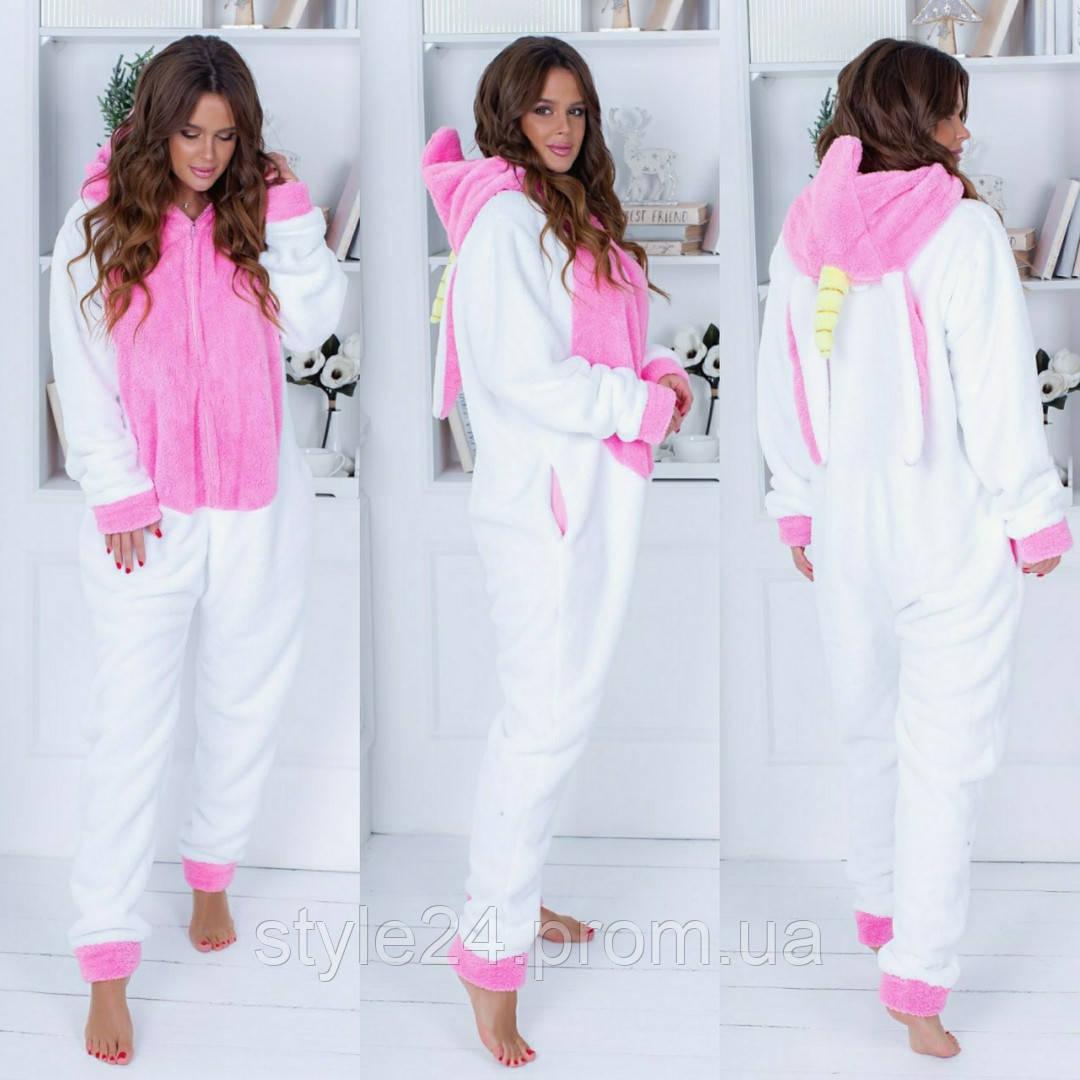 Махрова суцільна піжама кугурумі, 2 кольори  .Р-ри 42-48