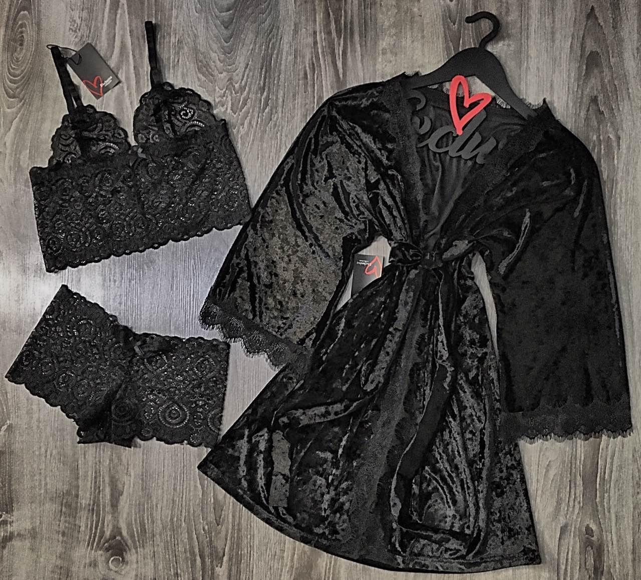 Велюровый халат + кружевное белье бюстгальтер трусы- шорты