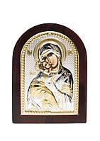 Владимирская икона Божией Матери серебряная с позолотой на деревянной основе AGIO SILVER (Греция) 75 х 103 мм, фото 1