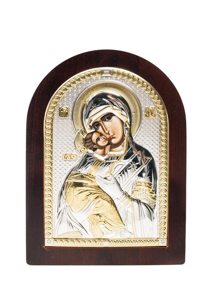 Владимирская икона Божией Матери серебряная с позолотой на деревянной основе AGIO SILVER(Греция) 150 х 200 мм