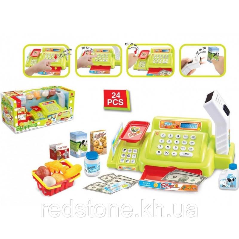 Кассовый аппарат 888А-888А (2 цвета) весы,корзинка,сканер,продукты...