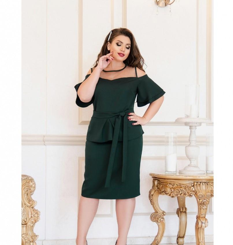 Нарядное платье батал №208-1-тёмно-зеленый