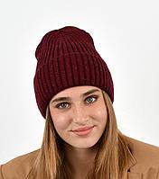 Молодежная модная вязанная шапка Элина с люрексом, на флисе