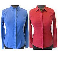 Рубашка коттоновая  однотонная, с вышивкой на полочке, с длинным рукавом, размеры 42,44 код 1214М