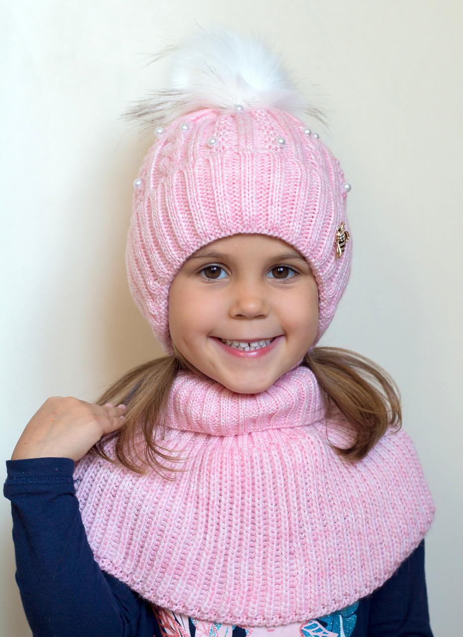 Детская шапка Пчелка. Зимняя, флис. р.50-54. 3-7 лет. Св.мята, св.розовый, белый.