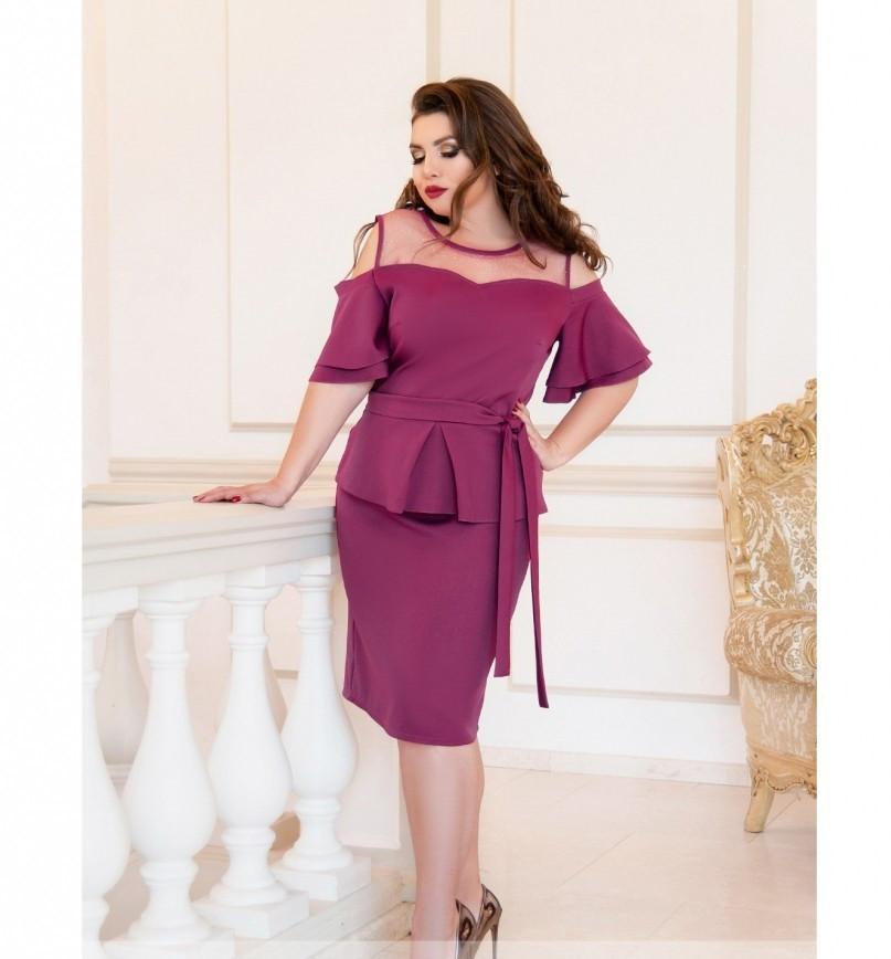 Нарядное платье батал №208-1-фуксия