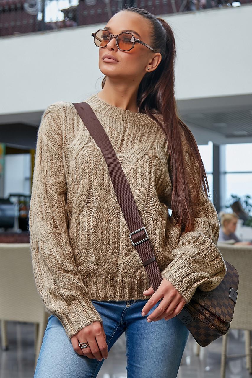 В'язаний светр жіночий кольору кави, р. 42-48, в'язка