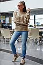 В'язаний светр жіночий кольору кави, р. 42-48, в'язка, фото 4