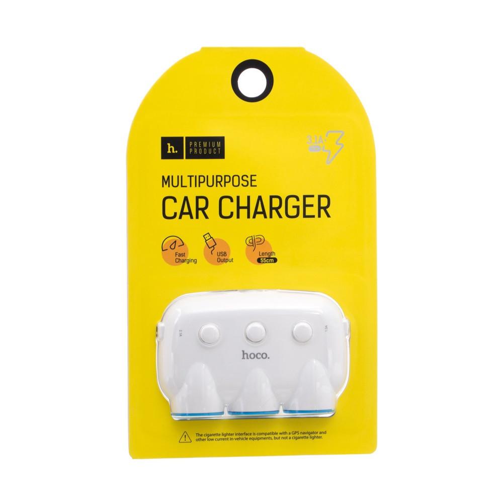 Автомобильный разветвитель+зарядное 3.1A Hoco C1