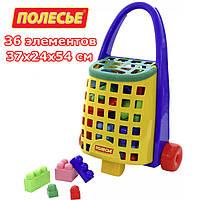 Набор Полесье забавная тележка + конструктор великан 36 элементов (44365)