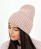Молодежная модная вязанная шапка Эмбер с люрексом, на флисе