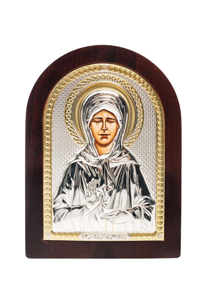 Святая Матрона Икона Серебряная с позолотой AGIO SILVER (Греция)  75 х 103 мм