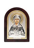 Святая Матрона Икона Серебряная с позолотой AGIO SILVER (Греция)  75 х 103 мм, фото 1