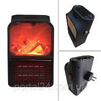 Портативный обогреватель - имитация камина с пультом тепловентилятор дуйка 500 Вт Flame Heater черный