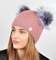 """Женская шапка с 2 помпонами """"Дора"""""""