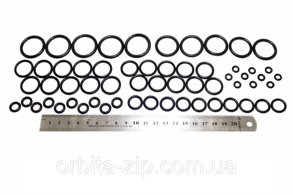 Набір механіка маслобензостійких гумових кілець №1 (60штук) (D=5мм - D=25мм) арт.2705