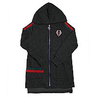 Темно-серый кардиган с капюшоном р. 128-152 для девочки