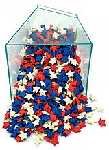 Посыпка звезды белые, синие, красные 50 грамм