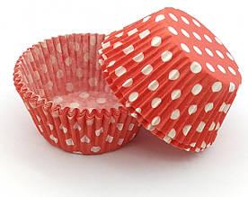 Тарталетки (капсулы) бумажные для кексов, капкейков Красные в белый горох
