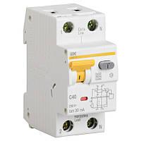 Дифференциальный автоматический выключатель IEK АВДТ32 C10  30мА тип С 10А 2 полюсный