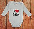 """Боди для малыша """"Я люблю папу"""" на рост 80 см, интерлок, Турция, фото 2"""
