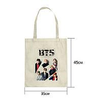 Эко сумка шоппер с принтом БТС (BTS) (3)