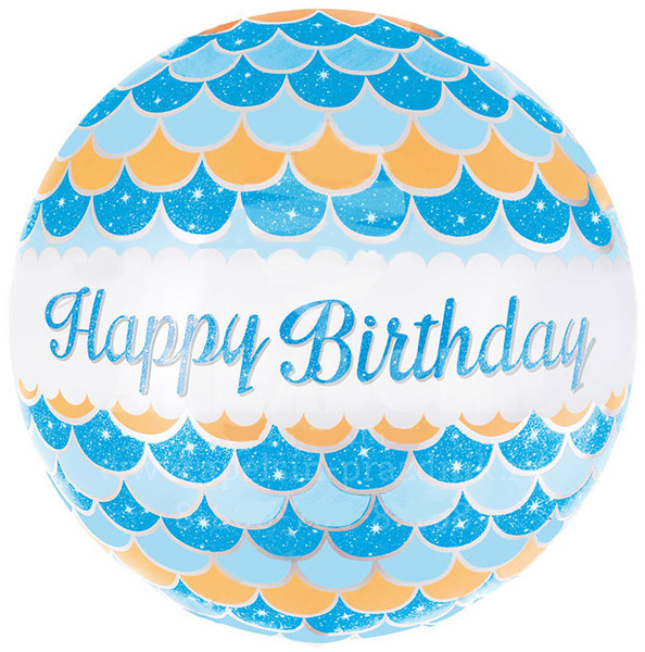 "Круг ""Happy Birthday"" синий 45*51"