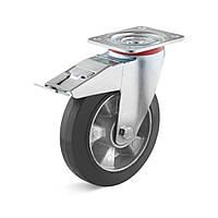 Уценка! Поворотное с тормозом колесо 200 мм эластичная резина 300 кг
