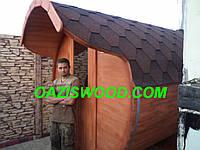 Баня бочка длинной 3,6 м с предбанником, козырьком и дровяной печкой