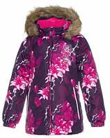 Куртка зимняя для девочек Loore, Huppa, бордовый с принтом (122) (17970030-91834-122)