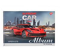 """Альбом для малювання А4 30л / 100 """"Supreme cars"""" на спіралі мат.лам + УФ-виб + фол сер YES (уп. 3 шт.)"""
