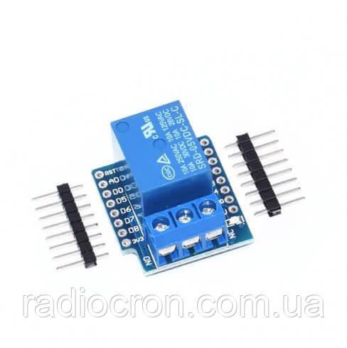 Модуль реле 1-канальний 12В, 10A / AC 250В для Wemos D1, D1 mini