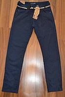Подростковые утепленные брюки темно-синего цвета, р.158