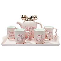 """Чайный набор """"Счастливая жизнь"""", розовый (4 кружки 260 мл + чайник 1 л,  поднос 42*22*2,5 см)"""