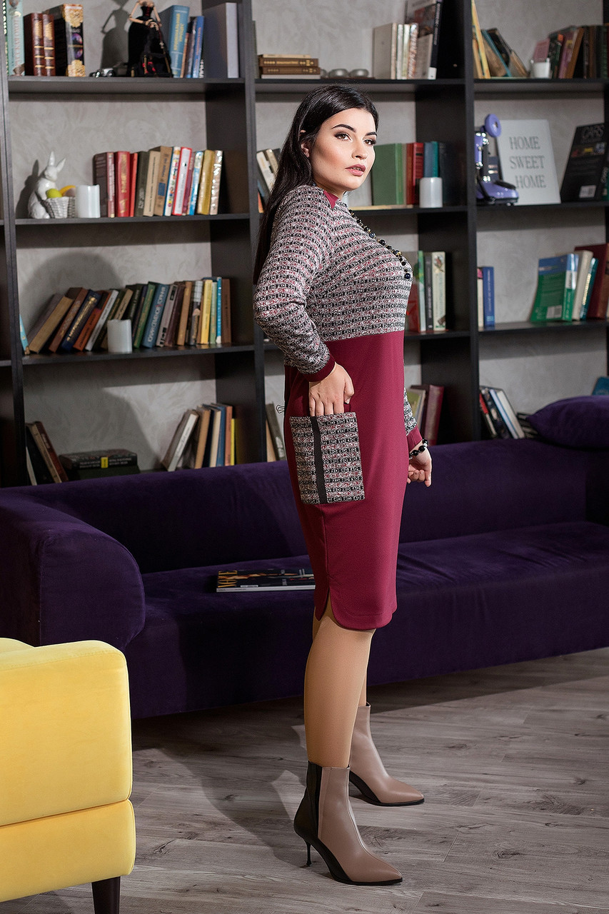 Элегантное женское платье комбинированное из двух видов ткани  батал   50-60  размер