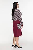 Элегантное женское платье комбинированное из двух видов ткани  батал   50-60  размер, фото 3