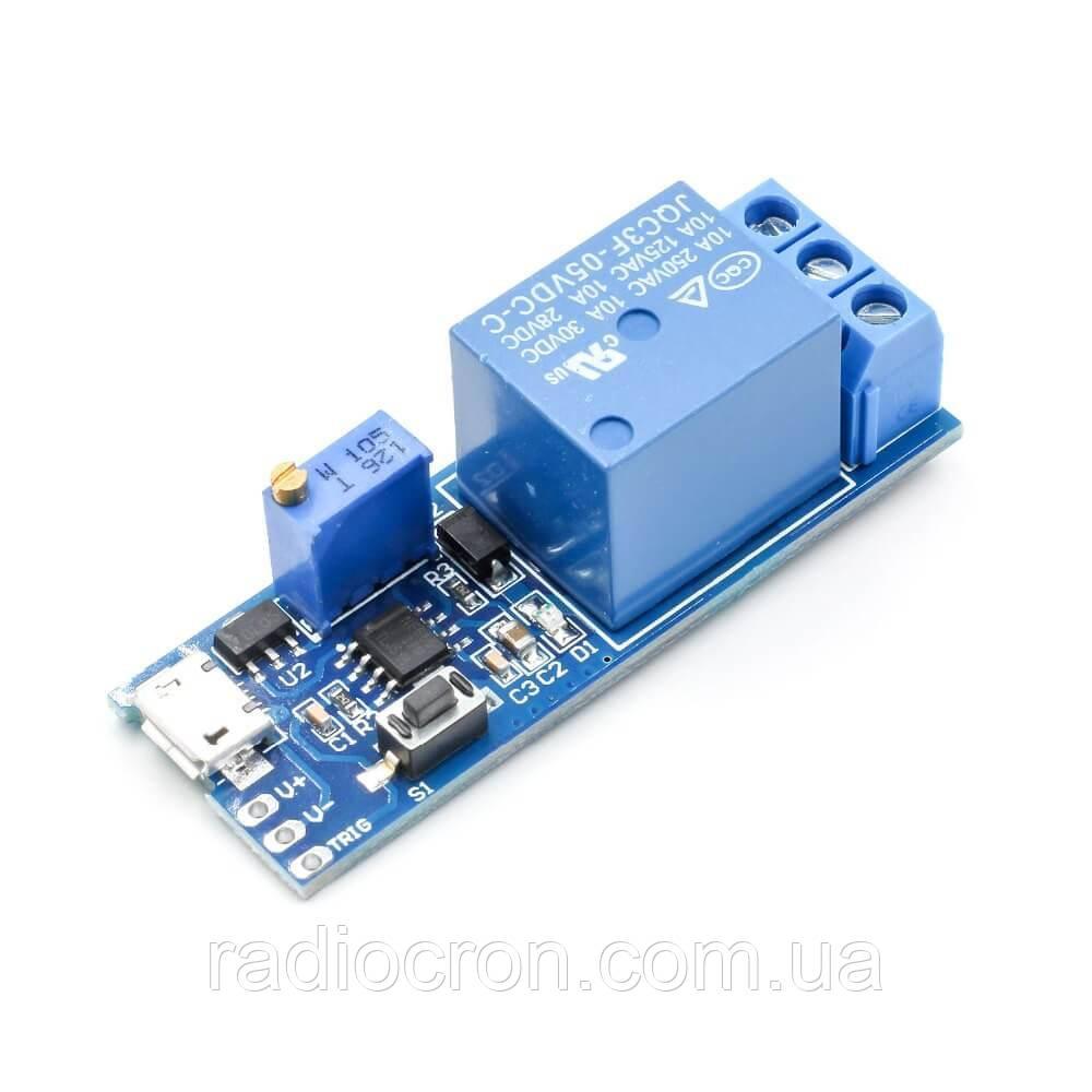 Таймер задержки NE555 отключения или включения MicroUSB, 10A / AC 250В, 0-24 секунд
