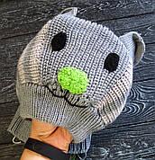 Зимний вязаный шапка-шлем для ребенка 1-3 лет, без кнопок, Котофей, р 48-50