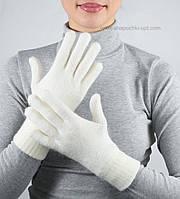 Лаконичные шерстяные перчатки PR-6 с люрексом белые