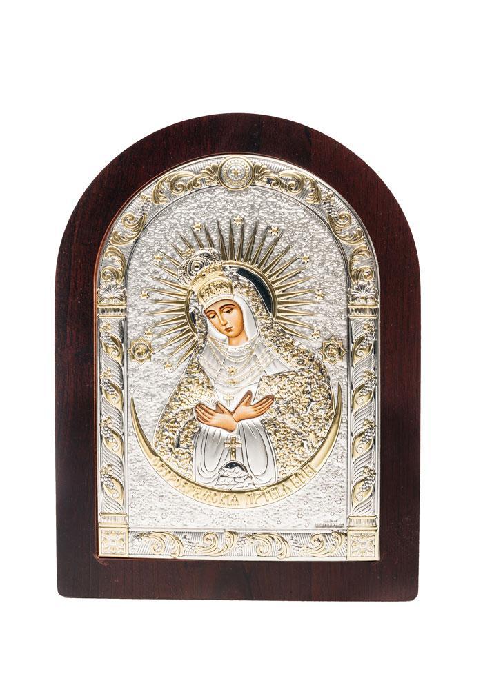 Икона Остробрамская AGIO SILVER (Греция) Серебряная с позолотой 57 х 75 мм