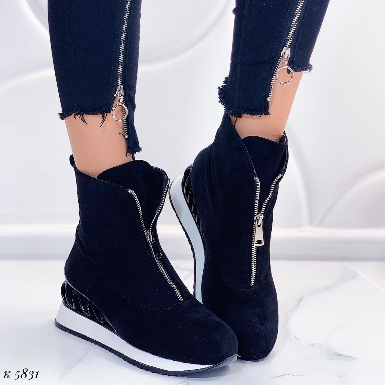 Женские осенние ботинки черные эко-замша
