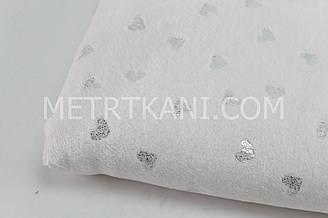 Плюш двухсторонний в сердечка серебро цвета нежно-розовый  100*80 см (глиттер) 340 г/м2 № пд-04